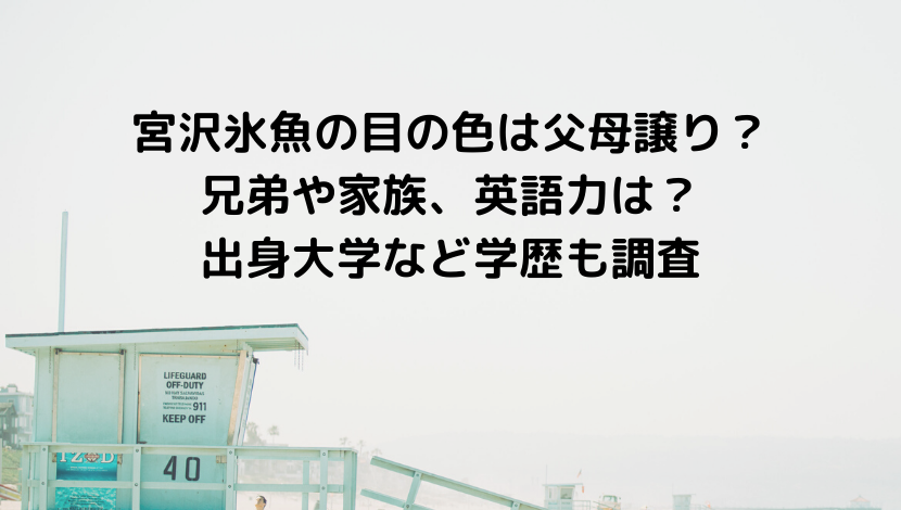 宮沢氷魚の目の色は父母譲り?兄弟や家族、英語力について&出身大学など学歴も調査