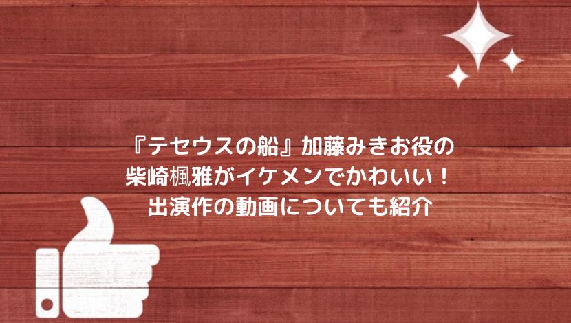 柴崎楓雅のインスタ画像がイケメンでかわいい!出演作の動画テセウスの船についても紹介