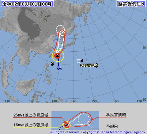 台風10号2020たまご発生!米軍ヨーロッパの予報図は?9月1日に台風へ