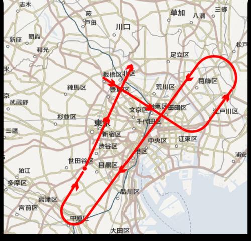 ブルーインパルス2020年5月29日飛行ルート