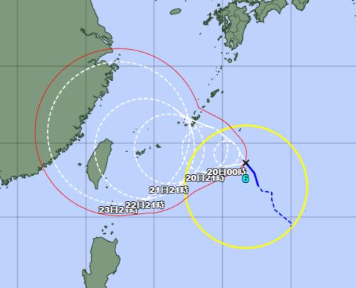 台風6号2021気象庁進路予想