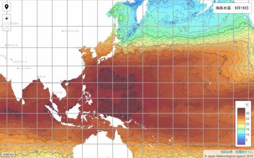 台風14号2021気象庁海面水温