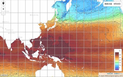 台風16号2021気象庁海面水温