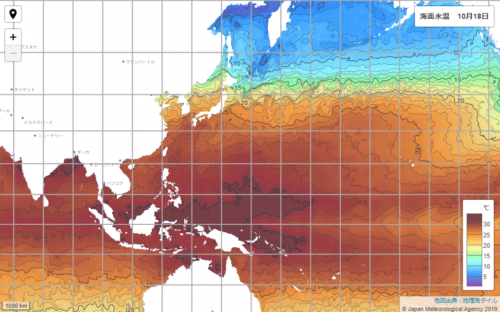 台風20号2021たまご気象庁海面水温