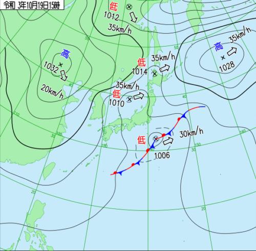 台風20号2021たまご気象庁天気図